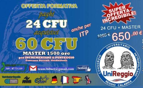 24 CFU + Master 1500 ore Unireggio Reggio Calabria