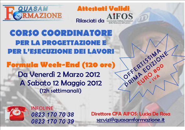 Corsi Coordinatore Progettazione Esecuzione Lavori Caserta - Santa Maria Capua Vetere