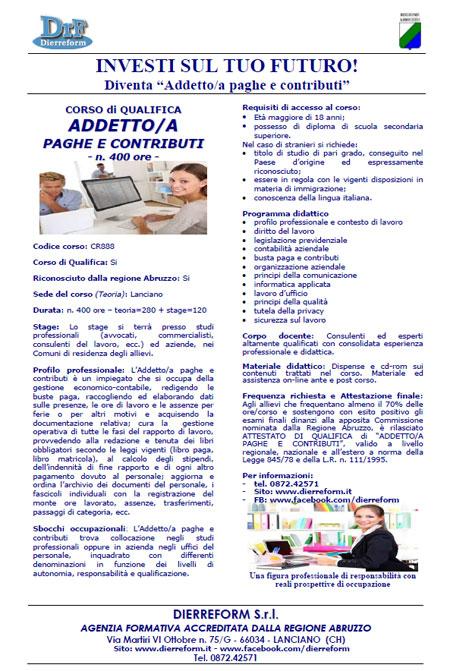 Corso addetto paghe contributi Lanciano Chieti 2016