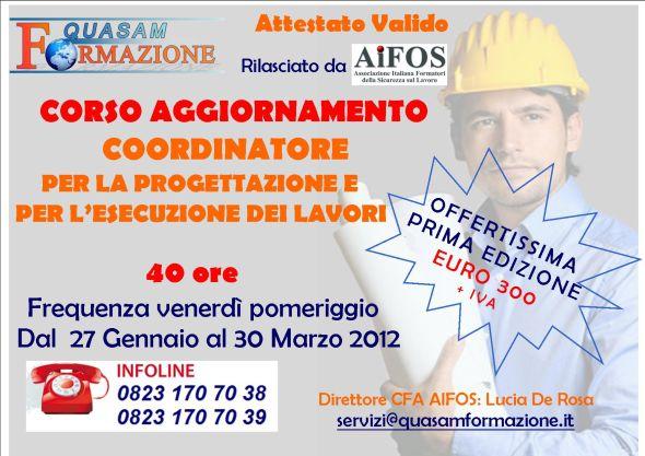 Corso Aggiornamento Coordinatore Progettazione Esecuzione Lavori S.M. Capua Vetere (CE)