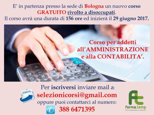 Corso amministrazione contabilità Bologna 2017