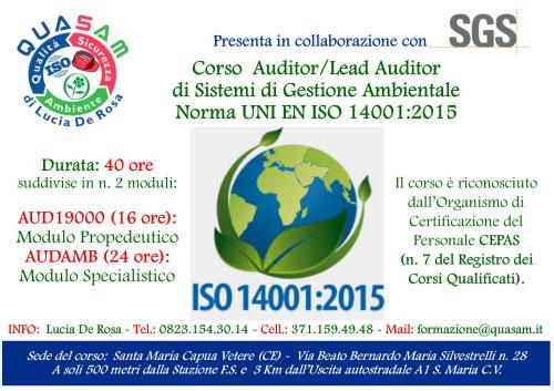Corso Auditor Sistemi Gestione Sicurezza Ambientale Santa Maria Capua Vetere 2017