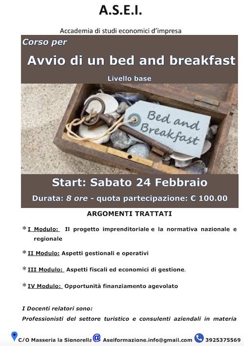 Corso Avvio Bed and Breakfast Castellaneta (Taranto) 2018