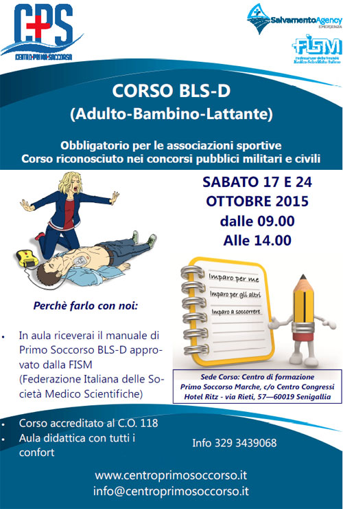 Corso BLSD Adulto Bambino Lattante Senigallia Ancona 2015