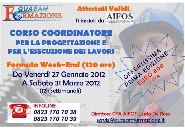 Corso Coordinatore per la Progettazione Esecuzione dei Lavori SantaMaria Capua Vetere (CE)