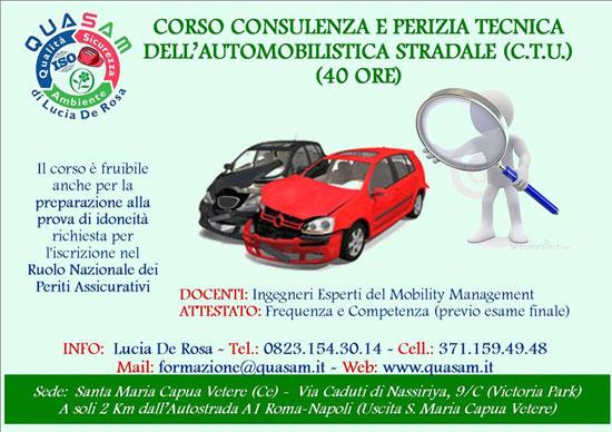 Corso CTU Consulenza e Perizia Tecnica dell'automobilistica stradale Caserta 2017