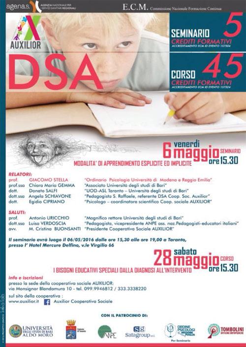 Corso DSA Disturbi Specifici Apprendimento Taranto 2016