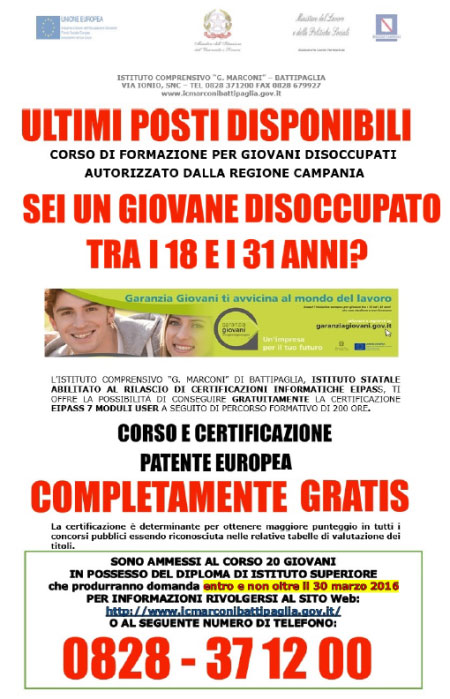 Corso Certificazione Eipass 7 Moduli Battipaglia Salerno 2016