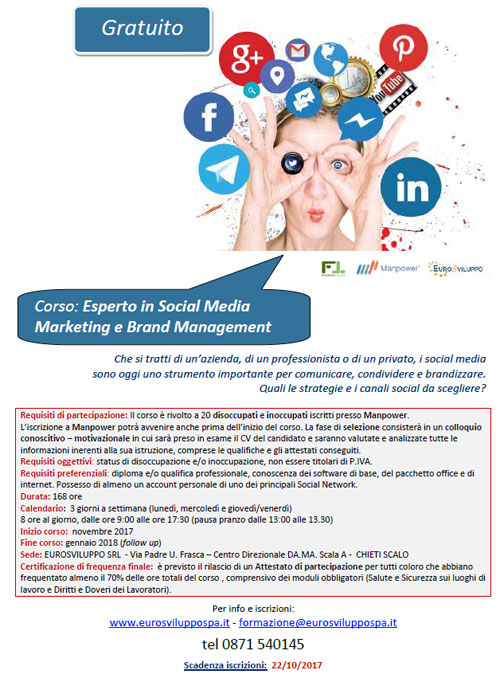 Corso Esperto in Social Media Marketing e Brand Management Chieti 2017 2018