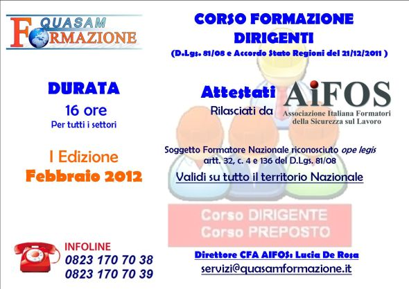 Corso Dirigenti Attestato AIFOS a S. Maria Capua Vetere (Caserta)