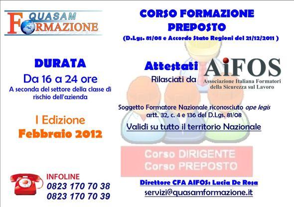 Corso di Formazione Preposto a Santa Maria Capua Vetere (Caserta)