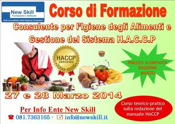 Napoli Corso Consulente per l'igiene degli alimenti e gestione del sistema HACCP