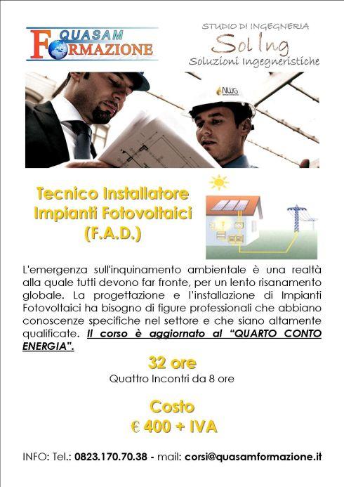 Corso online Installatore Impianti Fotovoltaici