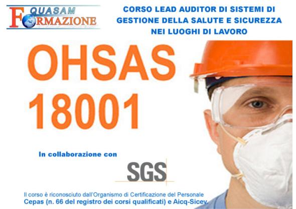Corso Lead Auditor Sistemi Gestione Salute Sicurezza Lavoro OHSAS 18001