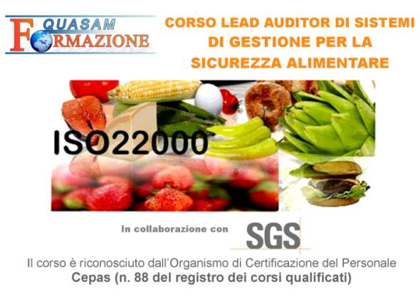 Corso Lead Auditor Sistemi Gestione Sicurezza Alimentare ISO22000