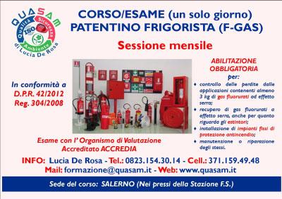 Corso Patentino Frigorista Impianti Antincendio Salerno 2016