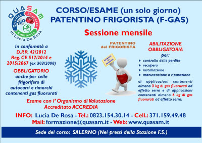 Corso Patentino Frigorista Salerno 2016