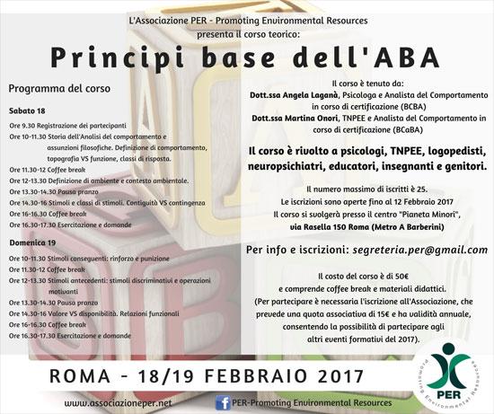 Corso Principi Base ABA Analisi Comportamentale Applicata Roma 2017