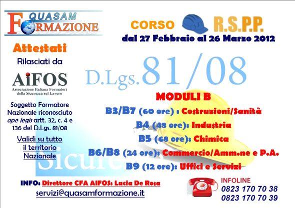 Corso RSSP Modulo B Santa Maria Capua Vetere (Caserta)