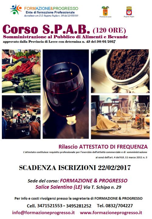 Corso Somministrazione al pubblico di alimenti e bevande Salice Salentino Lecce 2017