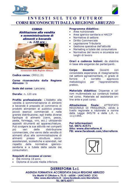 Corso vendita e somministrazione alimenti bevande Lanciano (Chieti) 2016