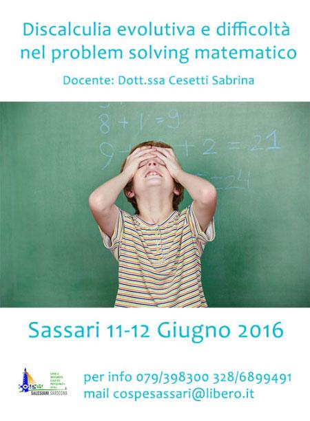 Corso discalculia evolutiva e difficoltà problem solving matematico Sassari 2016