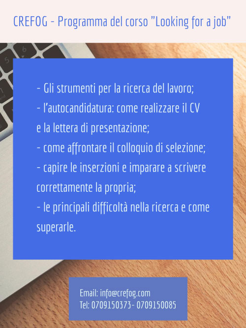 Programma corso ricerca lavoro Cagliari 2016