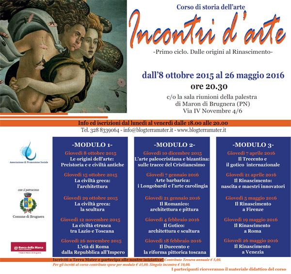 Programma corso storia dell'arte Maron di Brugnera (Pordenone) 2015 2016